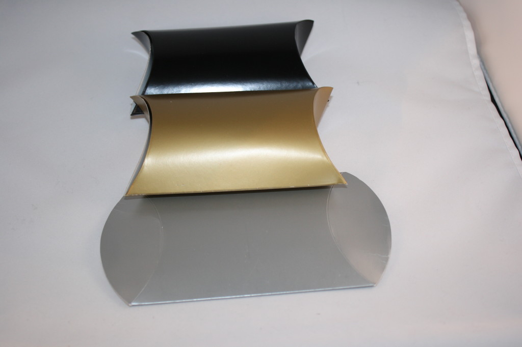 Gold Pillow Favor Boxes : Black silver gold glossy pillow boxes good quality