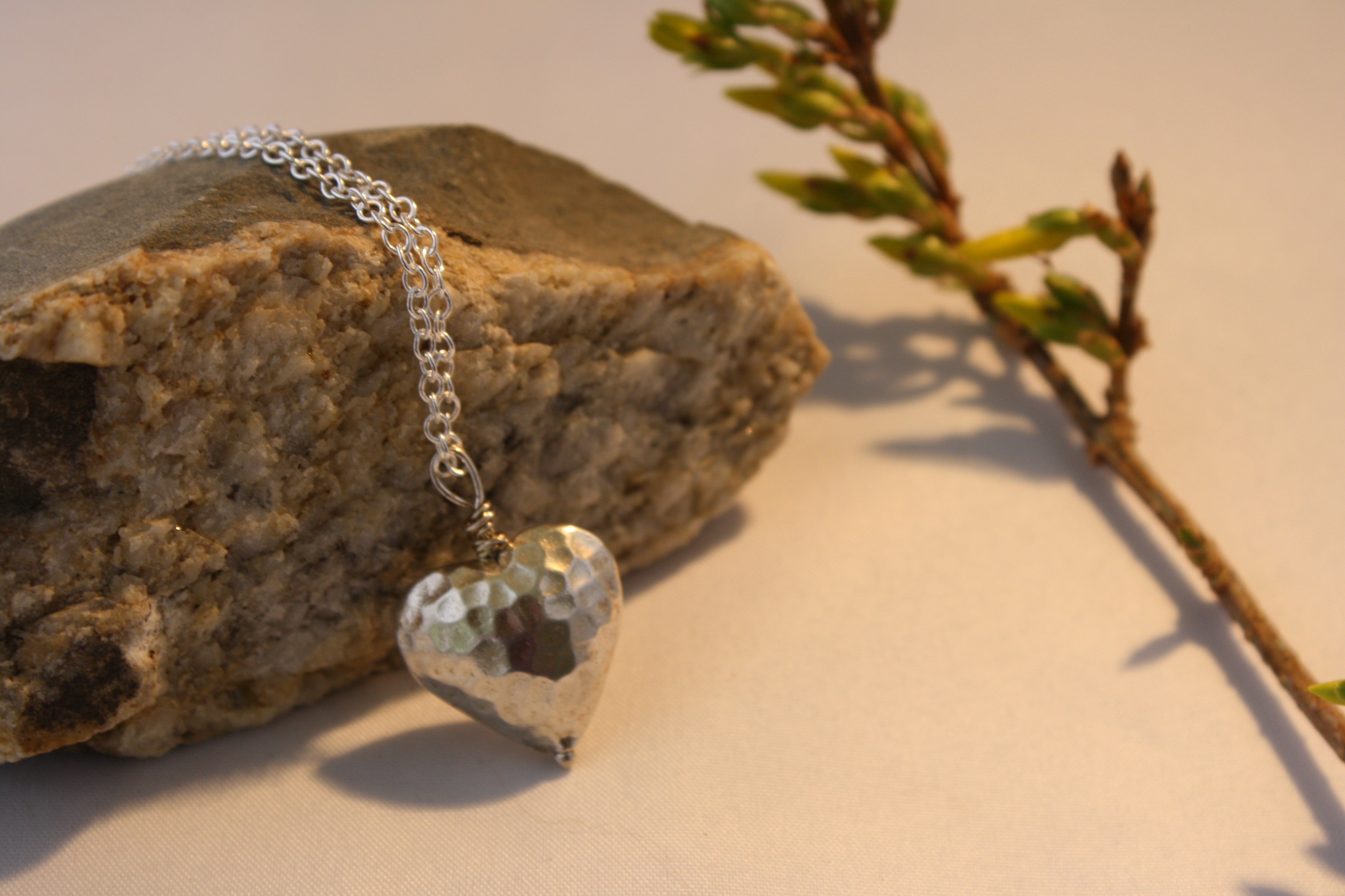 Sterling Silver Hammered heart