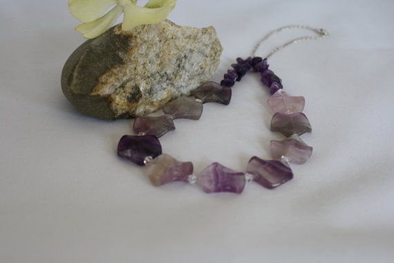 Fluorite & amethyst necklace with sterling