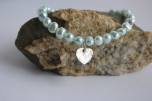 aqua pearl bracelet with silver heart