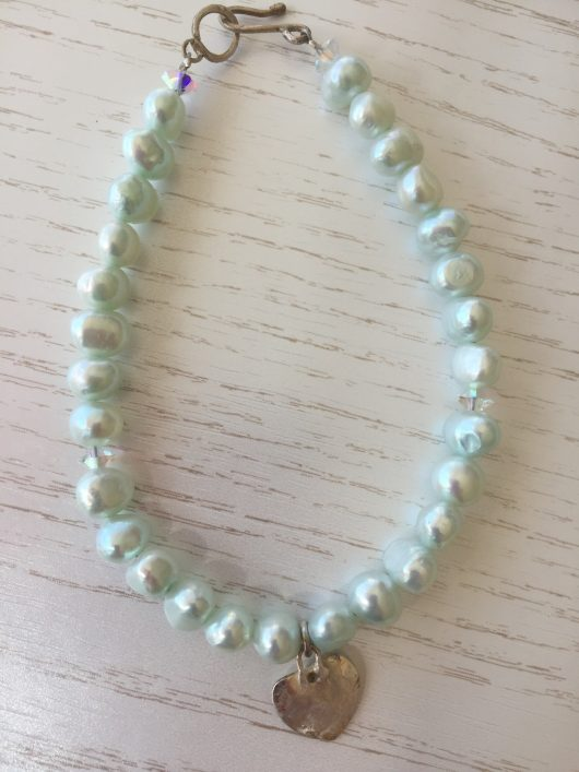 Fresh water pearl heart bracelet