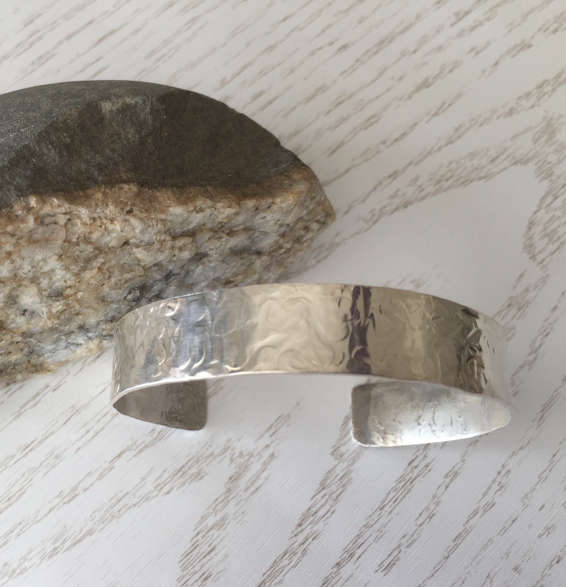 Wide Hallmarked 925 Sterling Silver Hammered Bracelet Cuff in a Gift Box